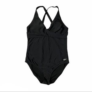 SPEEDO Black One Piece Bathing Suit Size 12